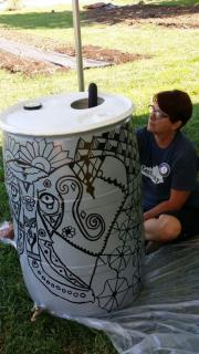 Leading rain barrel painting at Sustainable Berea's Urban Farm in September 2016
